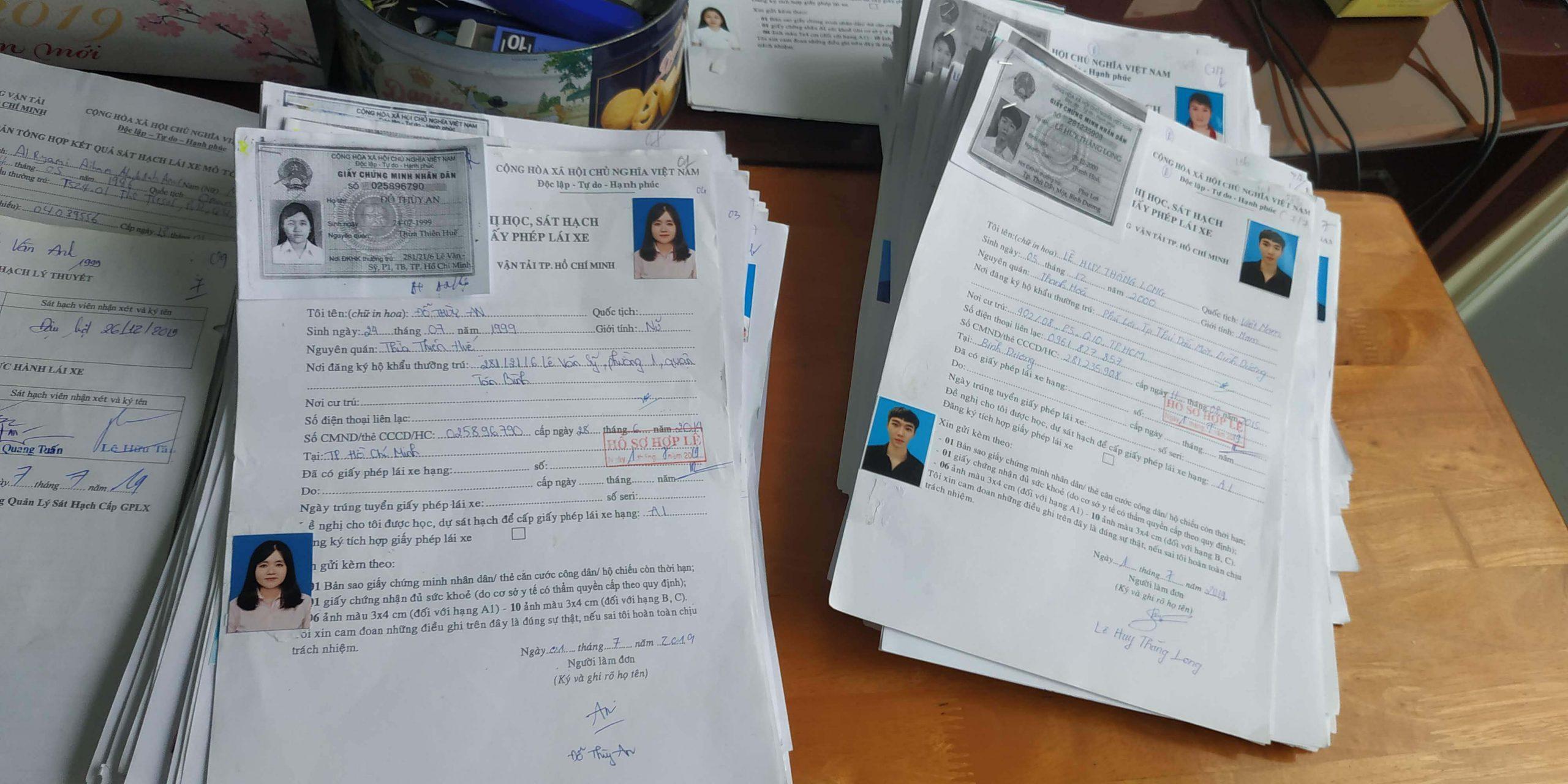 hồ sơ làm bằng lái xe máy